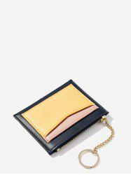 PU Leather Zipper Key Ring Card Bag -