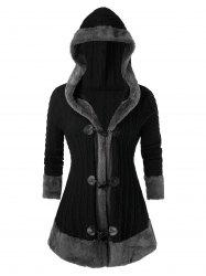 Plus Size Horn Button Hooded Faux Fur Cable Knit Cardigan -