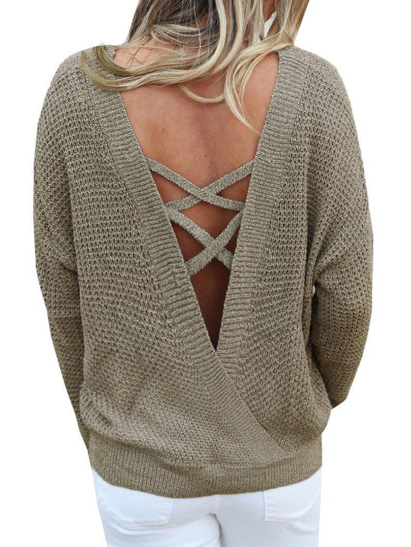 Discount Criss Cross Drop Shoulder Convertible Sweater
