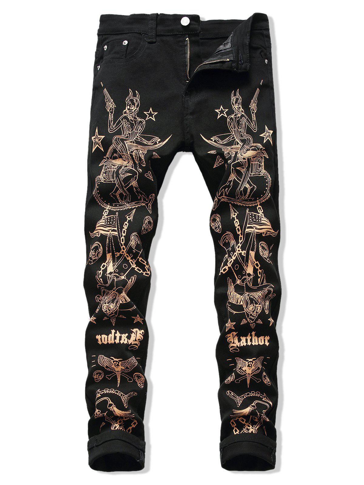 Shop Metallic Pirate Print Zipper Fly Straight Pants