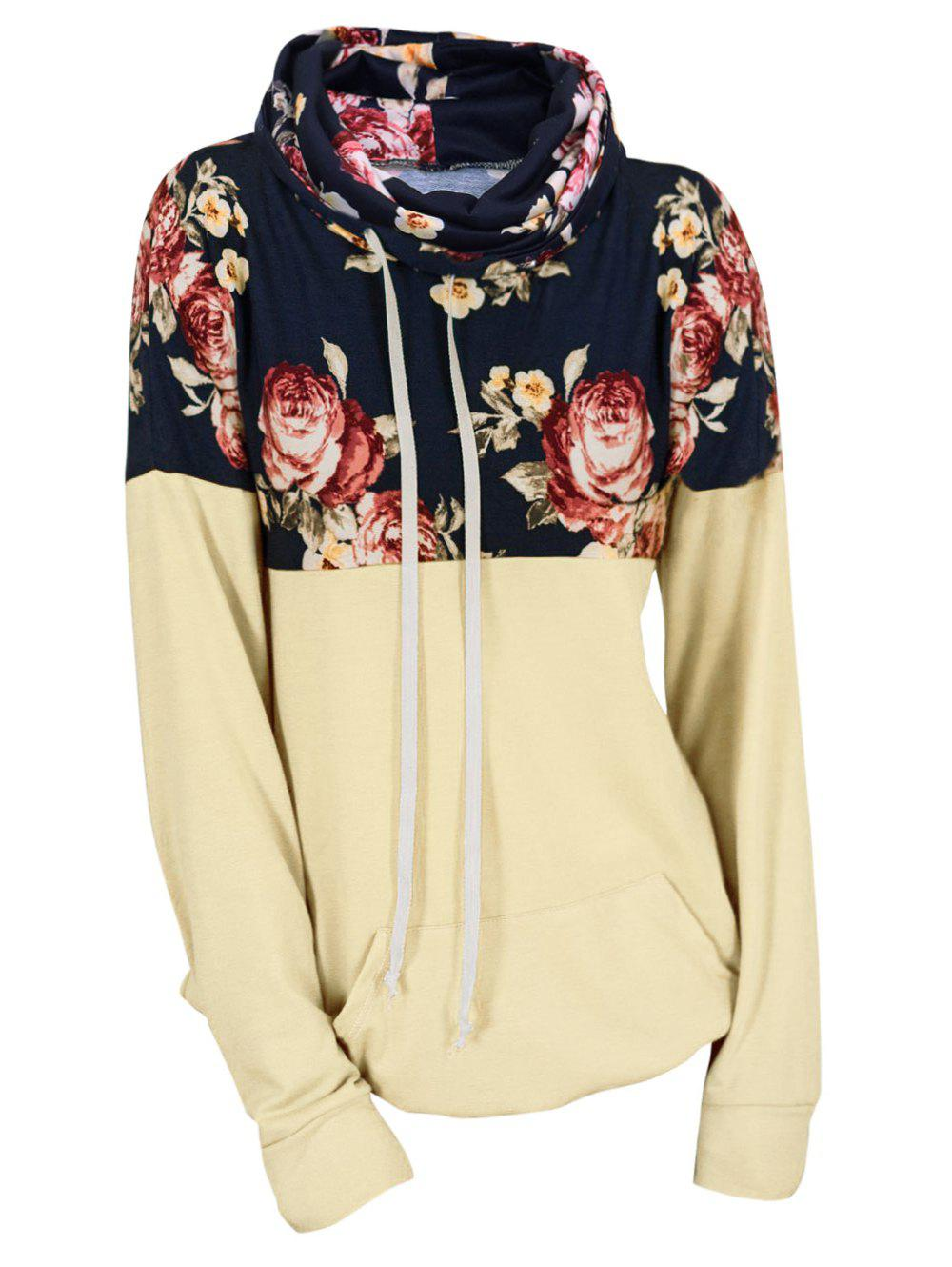 Affordable Plus Size Drawstring Cowl Neck Floral Hoodie