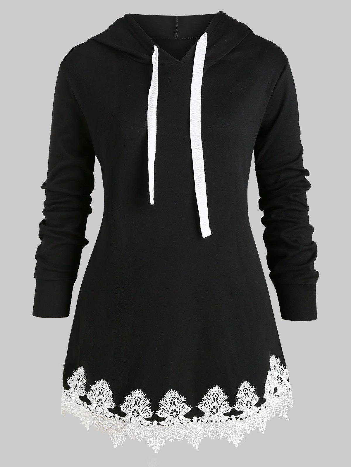 Store Drawstring Longline Lace Panel Plus Size Hoodie