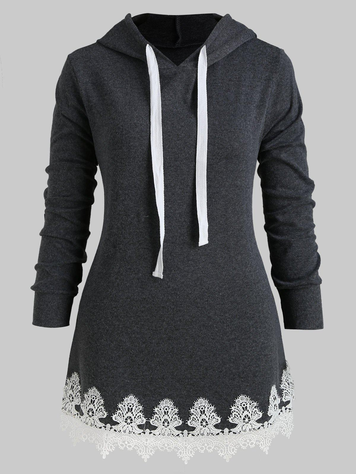 Buy Drawstring Longline Lace Panel Plus Size Hoodie