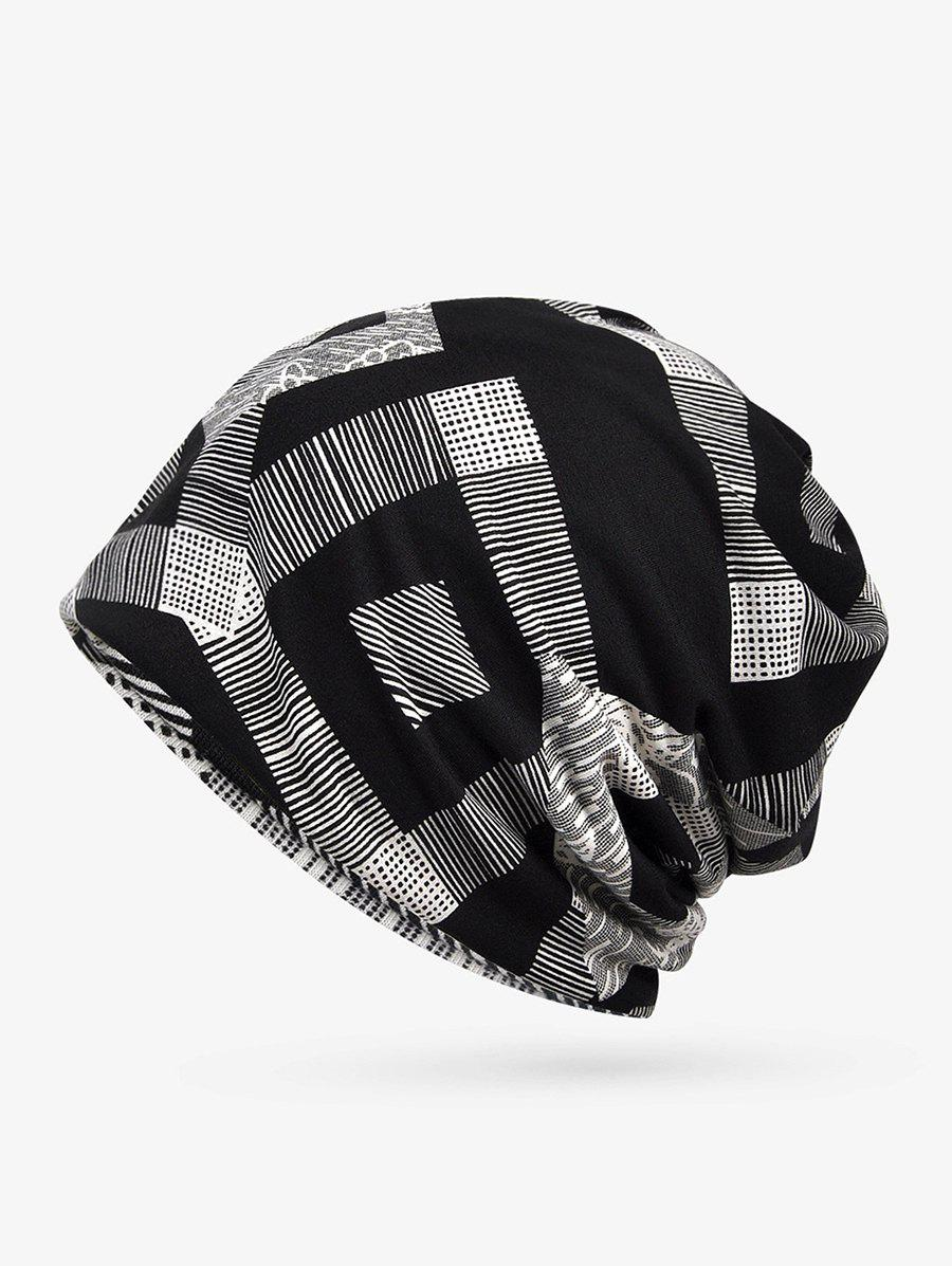 Shops Checkered Striped Print Elastic Double Use Scarf Hat