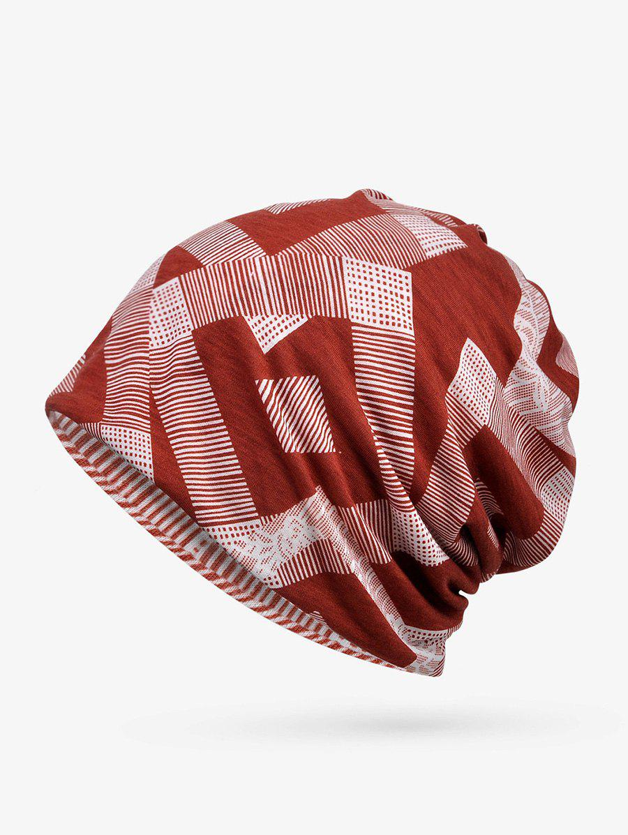 Chic Checkered Striped Print ElasticDouble Use Scarf Hat