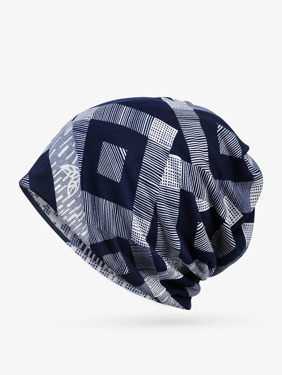 New Checkered Striped Print ElasticDouble Use Scarf Hat