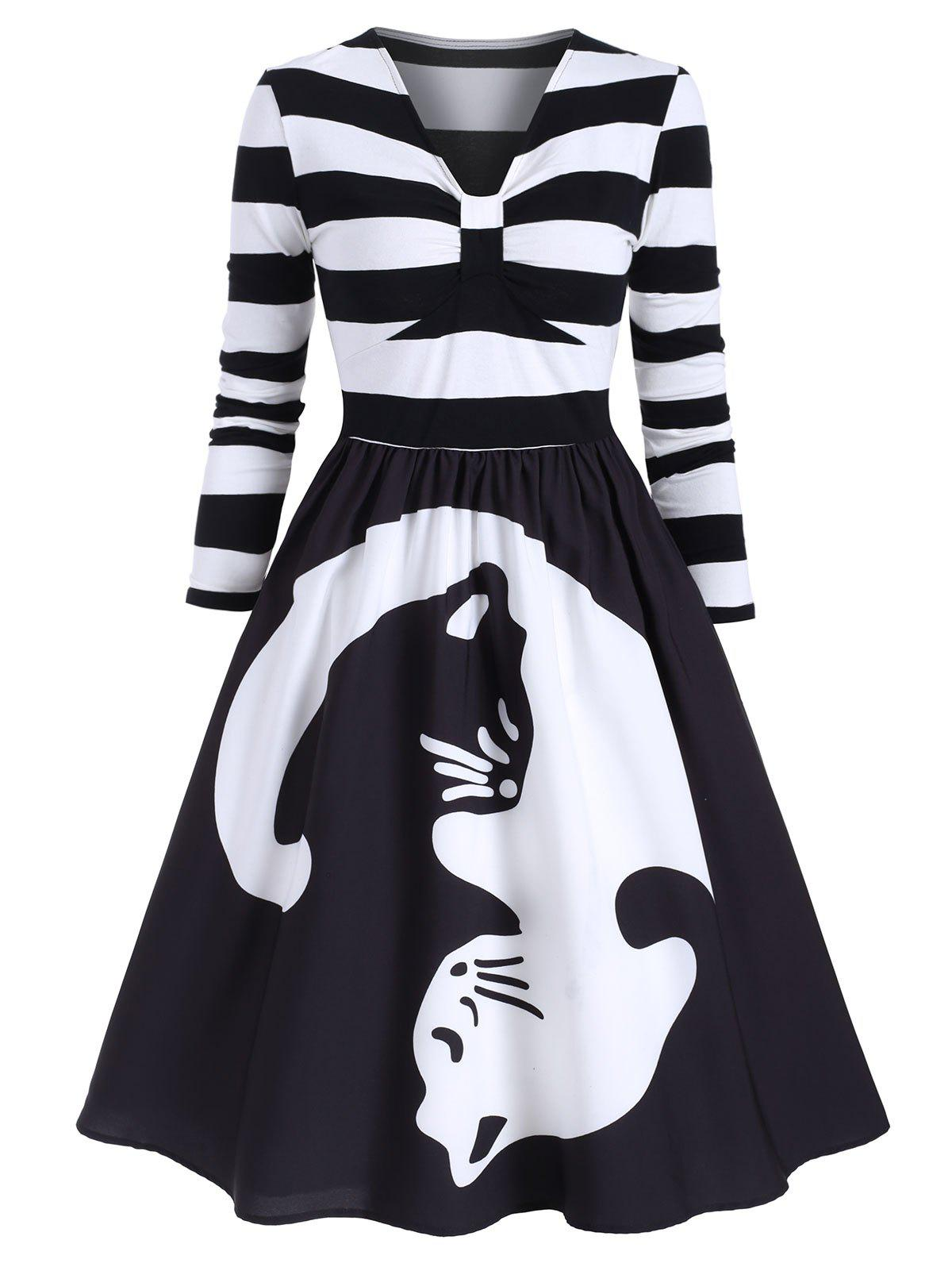 Discount Striped Cat Print Long Sleeves A Line Dress