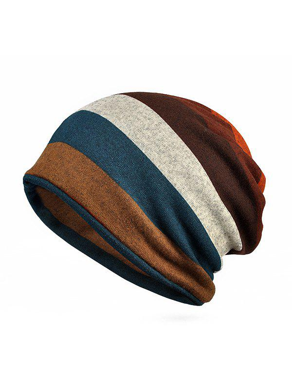 Shop Striped Print KnittedDouble Use Scarf Hat