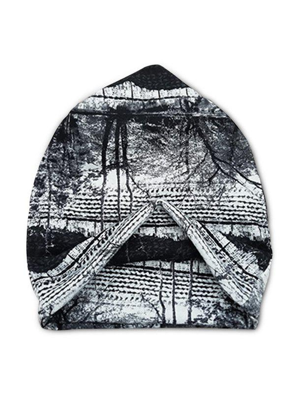 Fashion Tree Scenic Print Elastic Double Use Scarf Hat