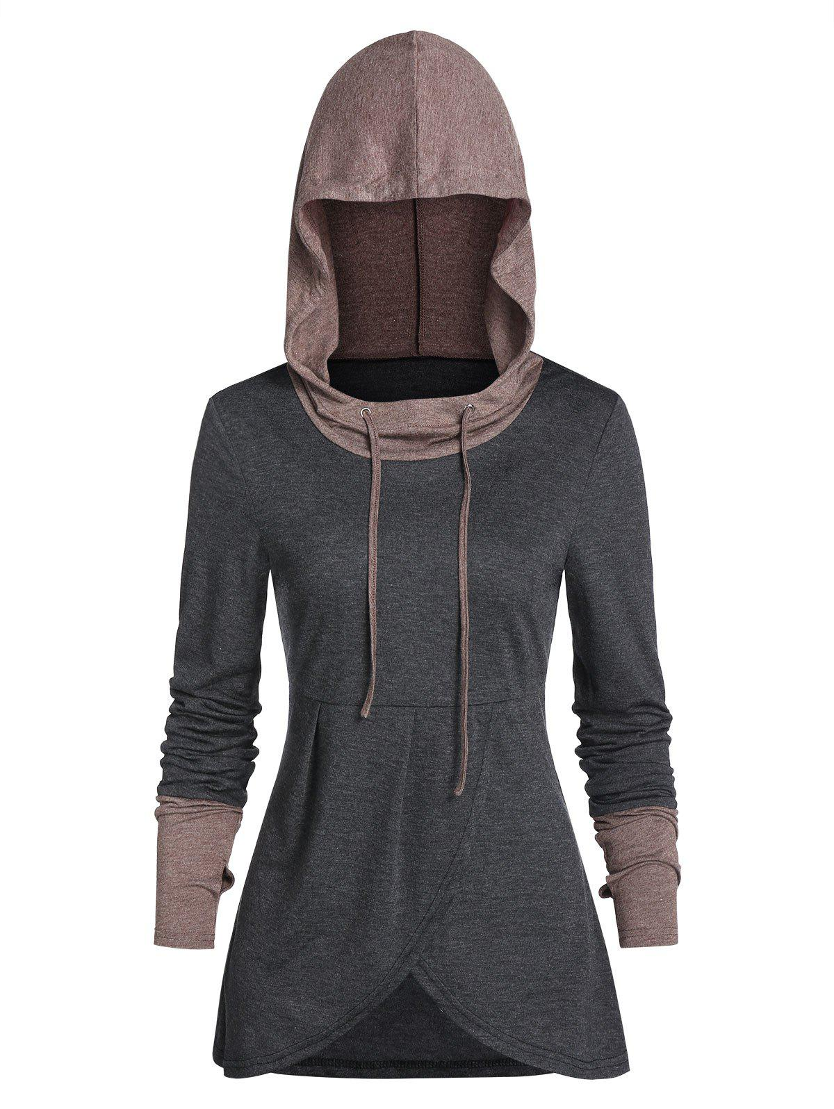 Online Hooded Contrast Heathered Glove Sleeve Drawstring Overlap T-shirt