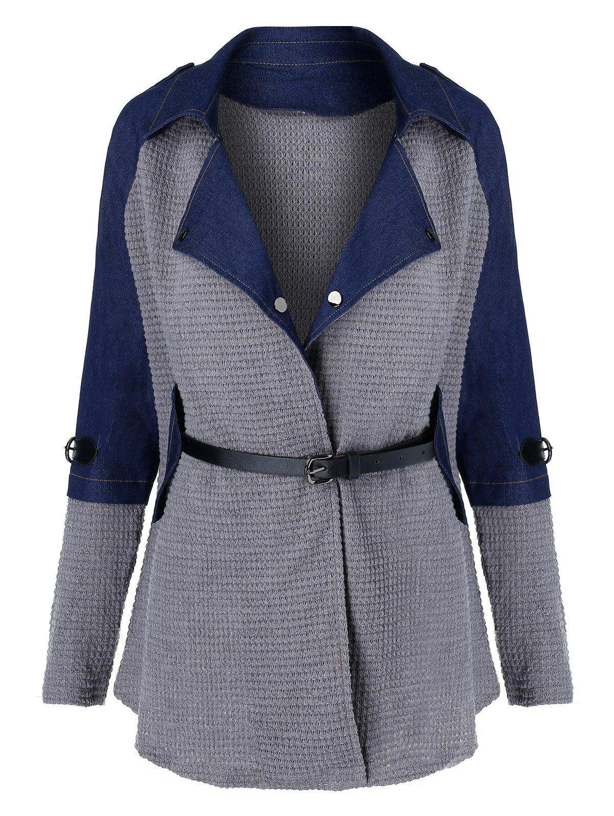 Outfits Denim Panel Belted Mixed Media Coat
