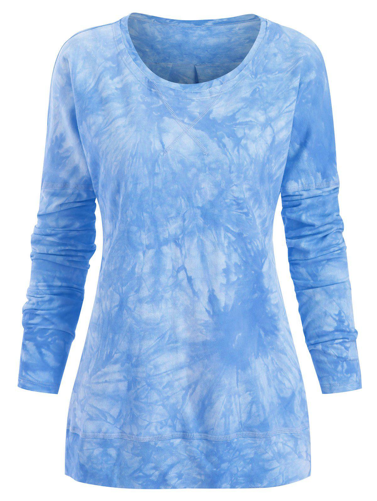 Hot Plus Size Side Slit Tie Dye Topstitching Tee