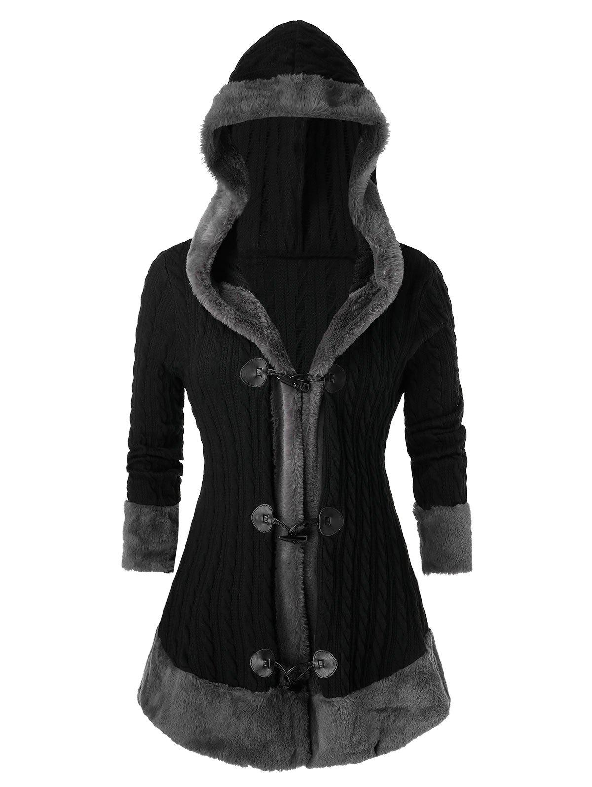Fashion Plus Size Horn Button Hooded Faux Fur Cable Knit Cardigan