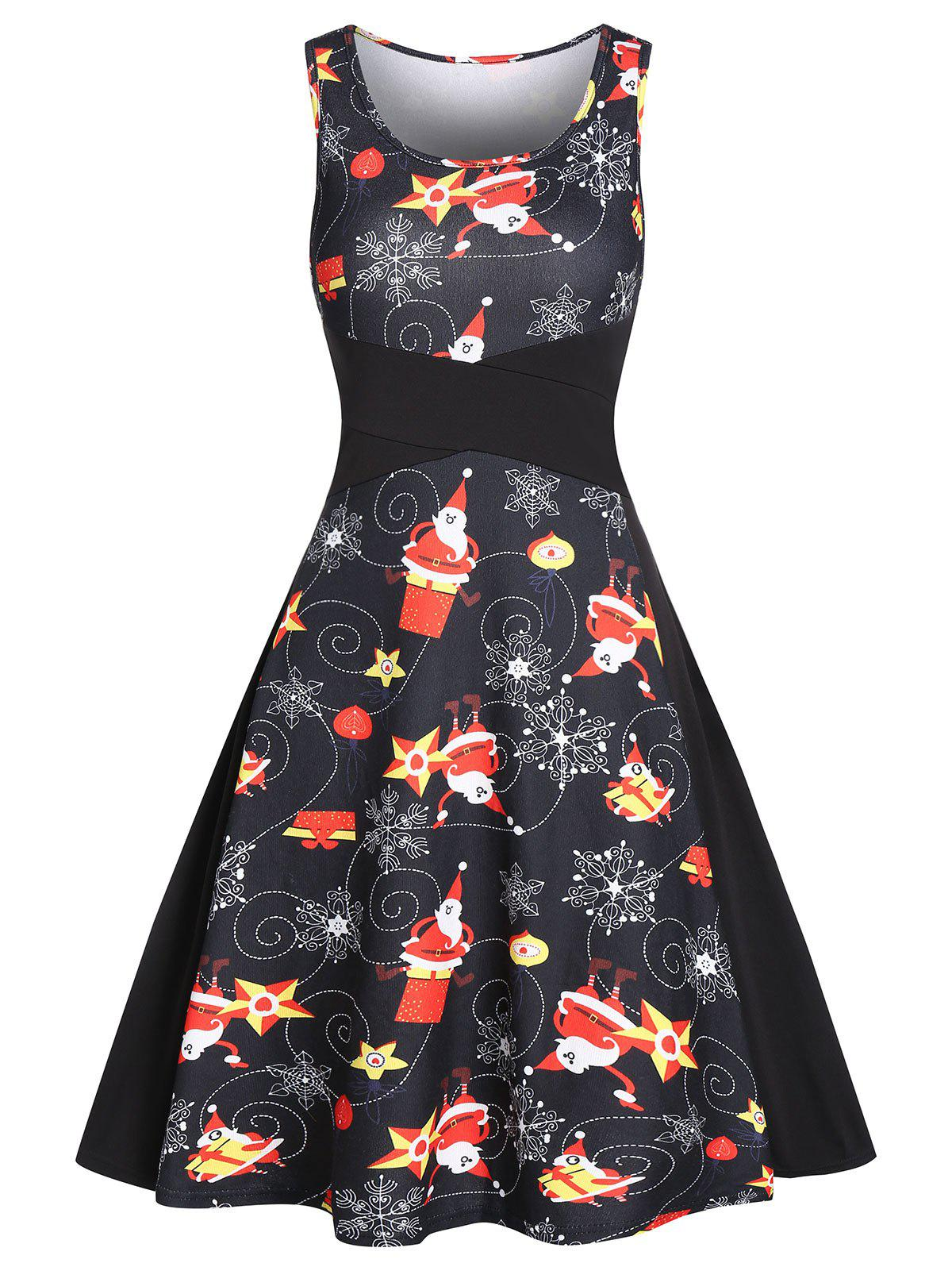 Buy Vintage Snowflake Santa Claus Print Christmas Dress