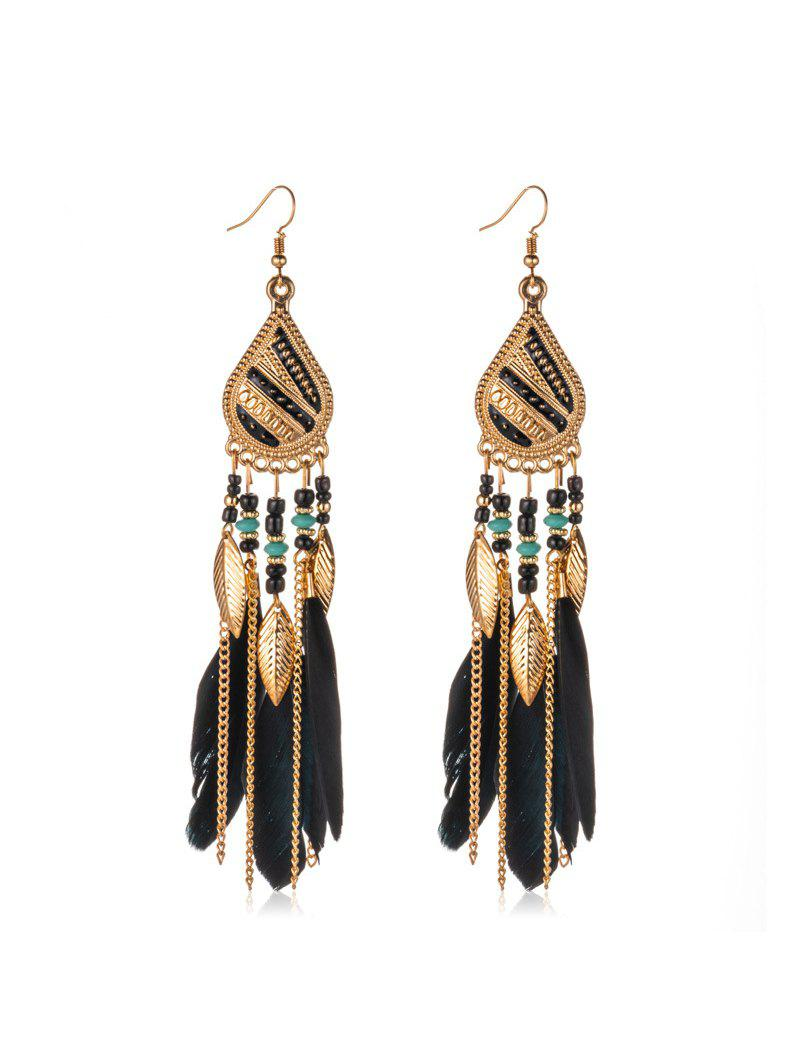 Store Feather Beaded Long Tassel Earrings