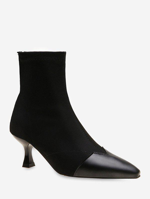Chic Contrast Pointed Toe Stiletto Heel Boots