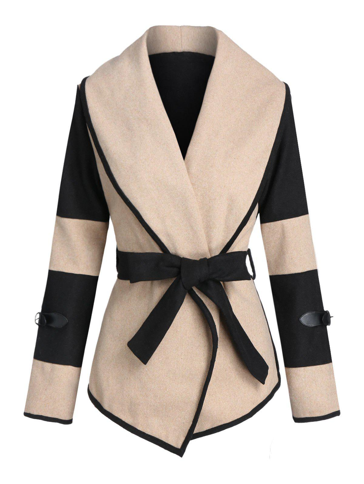 Discount Colorblock Buckle Woollen Coat