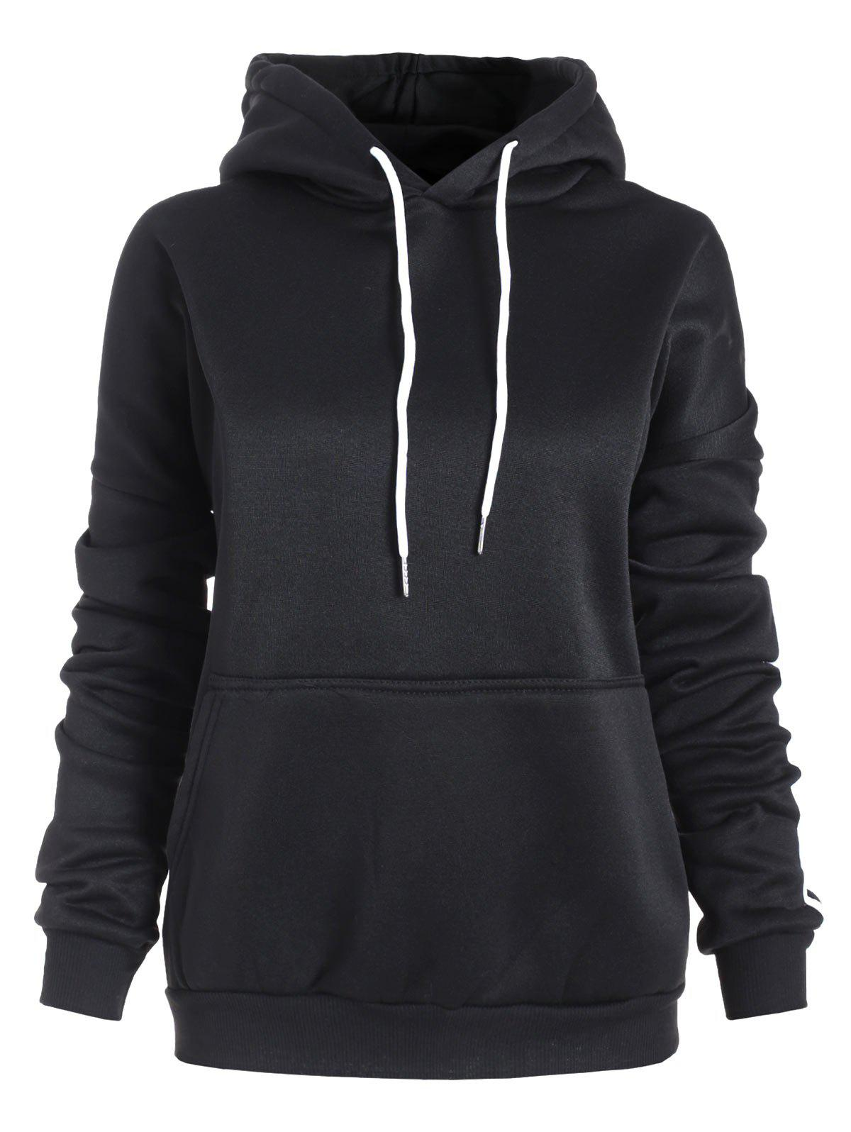 Affordable Plus Size Drawstring Stripe Trim Pullover Hoodie