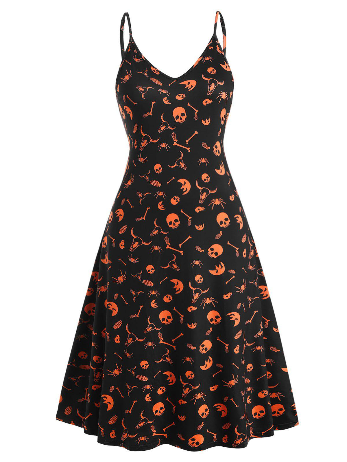 Discount Plus Size Halloween Print Midi Cami Dress