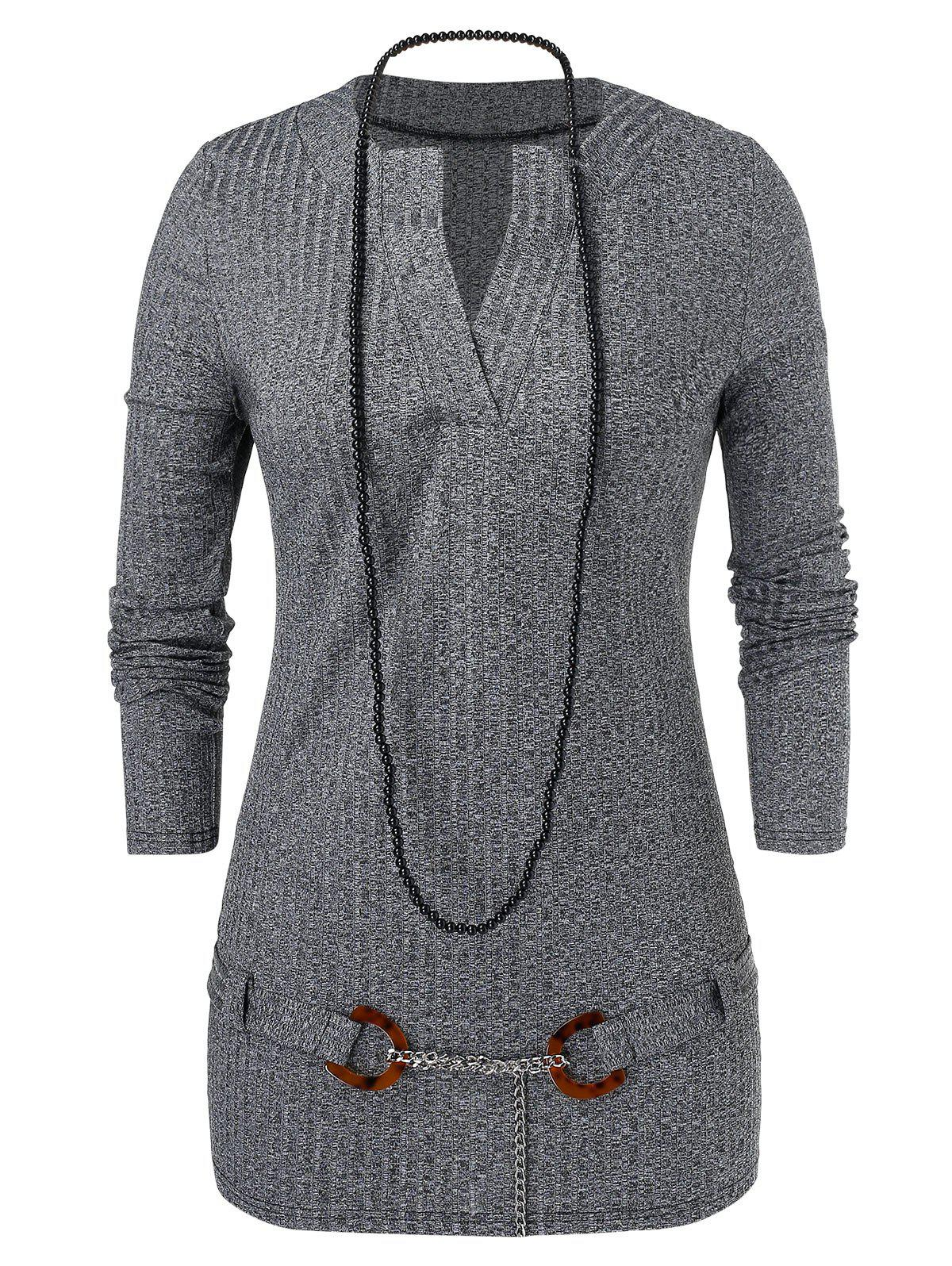 Fashion Plus Size D Ring Chains Marled Knitwear