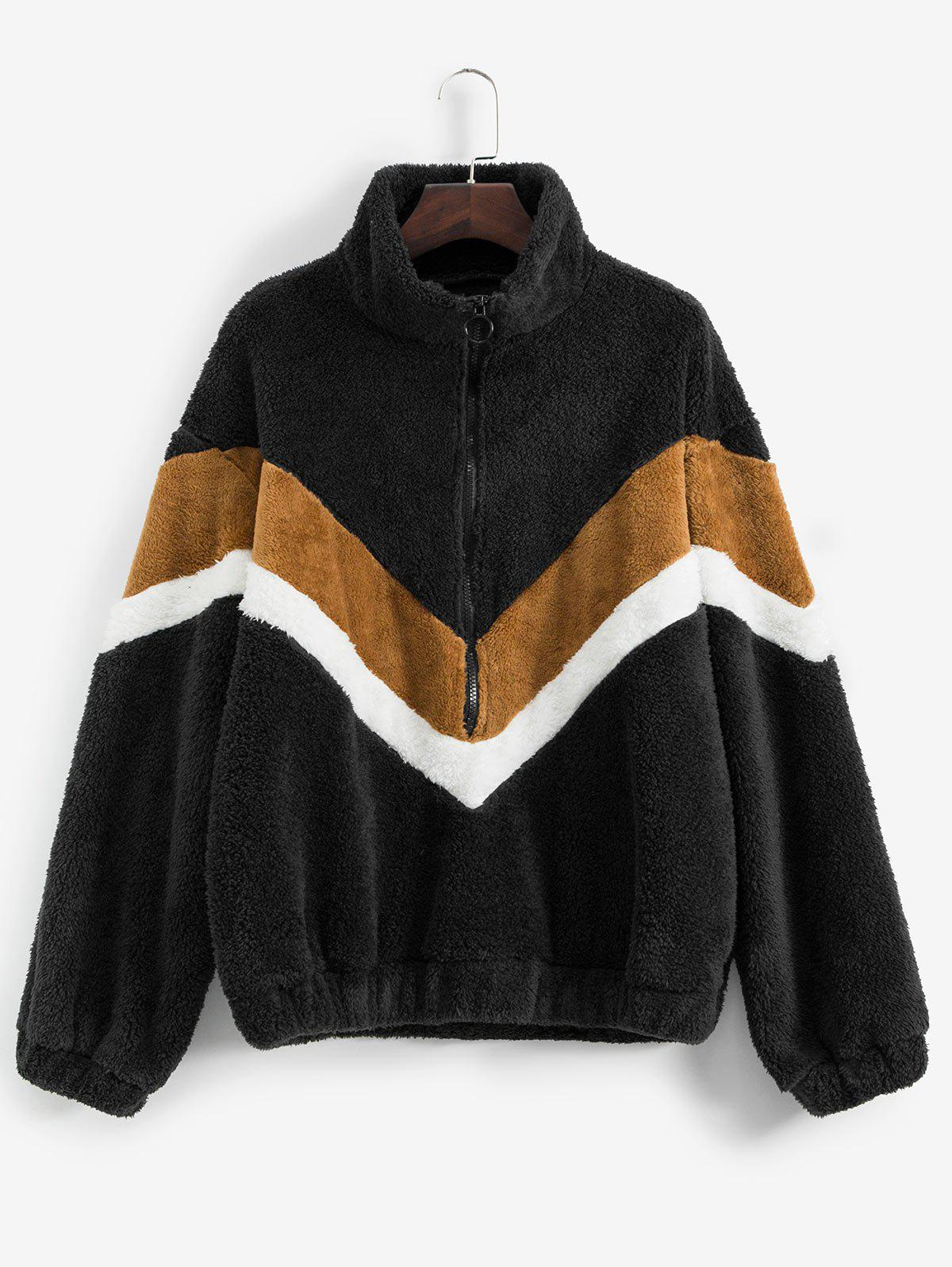Shop Plus Size Half-zip Colorblock Teddy Sweatshirt