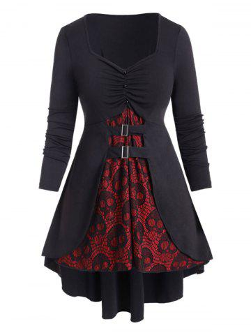 Halloween | Buckle | Skull | Shirt | High | Lace | Plus | Size | Low