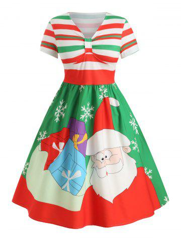 Plus Size Christmas Santa Claus A Line Striped Midi Dress