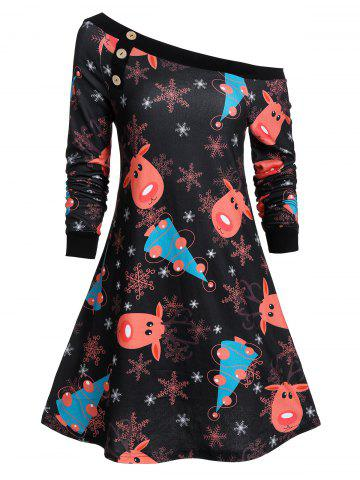 Christmas Elk Snowflake Skew Collar Button Dress