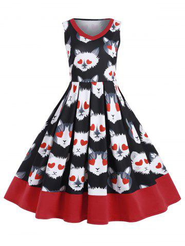 Plus Size Cat Print Midi A Line Vintage Dress