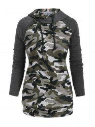 Raglan Sleeve Zippered Camouflage Pockets Plus Size Hoodie -
