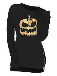 Zip Side Pumpkin Skull Halloween Plus Size Sweatshirt -