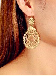 Hollowed Out Water Drop Shape Metallic Dangle Earrings -