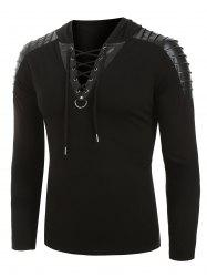 Faux Leather Pleated Sleeve Lace-up D-ring Pullover Hoodie -