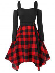 Plus Size Asymmetrical Checked Panel Open Shoulder Dress -