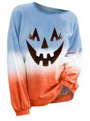 Plus Size Pumpkin Ombre Halloween Long Sleeves Top -