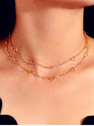 Hollow Out Heart Double Layers Necklace -
