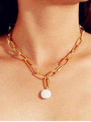 Round Pearl Pendant Chain Necklace -