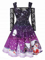 Plus Size Christmas Snowflake Print Vintage Dress with Off The Shoulder T Shirt -