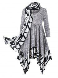 Plus Size Handkerchief Marled Floral Dress With Scarf -