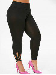 High Waisted O Ring Cut Out Ninth Plus Size Leggings -