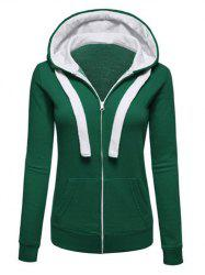 Hooded Zip Up Pockets Neon Tape Plus Size Jacket -
