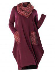 Long Sleeve Metallic Dual Pocket Scarf Casual Plus Size Dress -