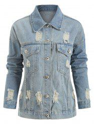 Plus Size Ripped Button Up Denim Jacket -