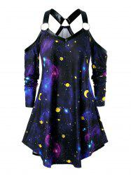 Plus Size Open Shoulder O Rings 3D Galaxy Tee -