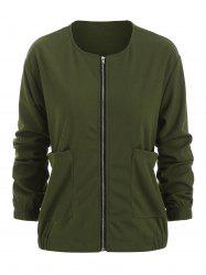 Plus Size Pockets Full Zip Jacket -