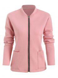 Plus Size Front Pocket Zip Fly Jacket -