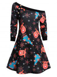 Christmas Elk Snowflake Skew Collar Button Dress -