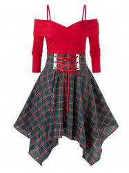 Plus Size Handkerchief  Crossover Lace Up Plaid Dress -