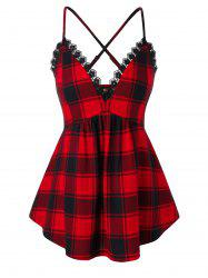 Plus Size Plaid Criss Cross Lingerie Babydoll -