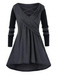Plus Size Casual Cowl Collar Long Jointed Top -